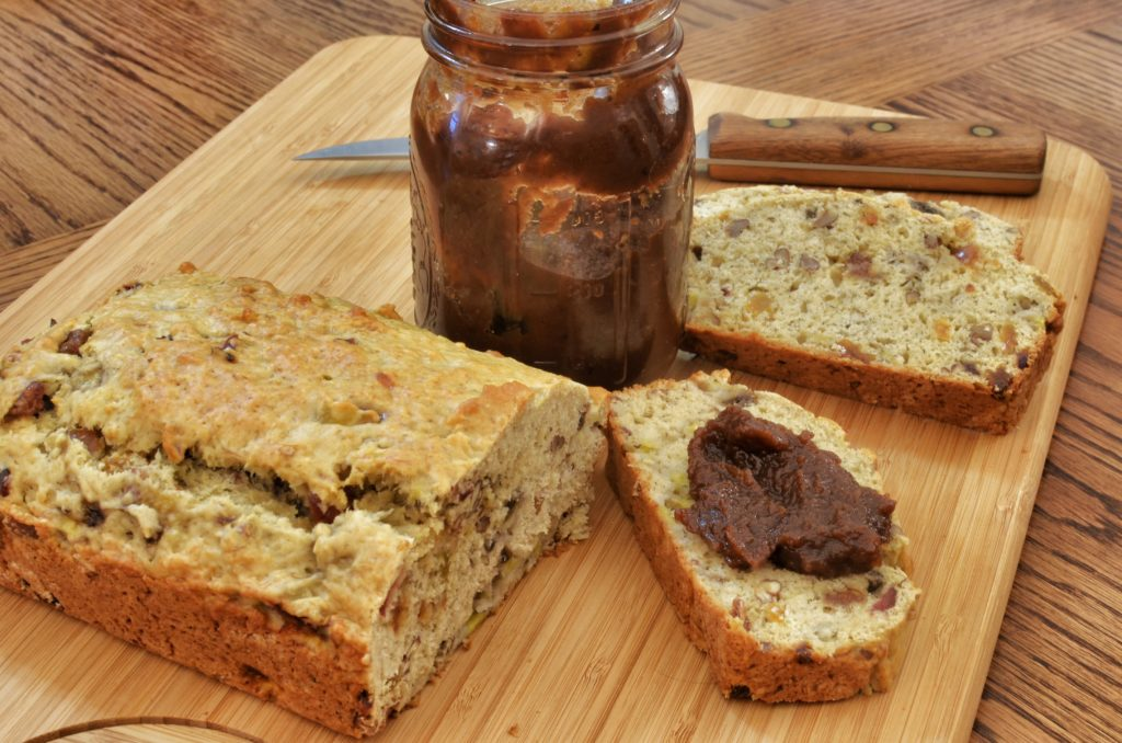 Banana nut bread with apple butter